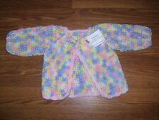 NEW HANDMADE CROCHET BABY GIRL SWEATER JACKET CARDIGAN SZ 2T PINK PHOTO PINK