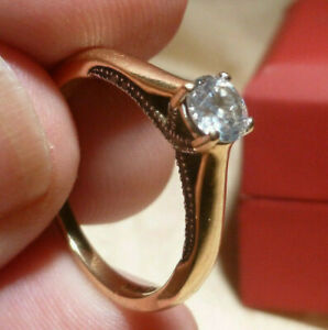 Certificated 18ct Gold .43ct Diamond Solitaire Engagement Ring Original Gift Box