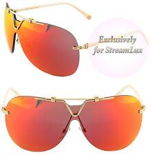 CHRISTIAN DIOR Aviator Visor Sunglasses DIOR 57TH Gold Orange Mirrored O5DUW