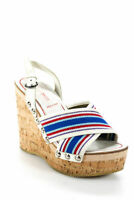 MIU MIU - Blue Red Canvas White Leather Ankle Strap Wedge Heel Sandals 5.5 35.5