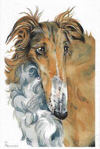original painting 20 x 30 cm 82BD art watercolor Animal dog Russian greyhound
