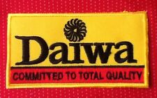 YELLOW DAIWA FISHING BADGE IRON SEW ON PATCH COMMITTED TO QUALITY ANGLER FISH