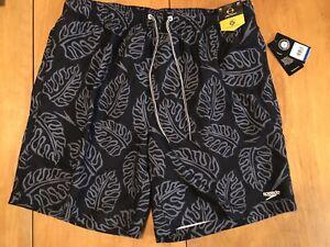 Speedo Mens 2 Way Stretch Swim Trunks Black/Gray Leaf Print Shorts Size XL