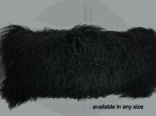 Real Black Mongolian Tibetan Lamb Fur Pillow New made in usa Tibet cushion