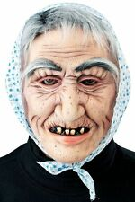 Hooded Old Woman Witch Hag Face Mask w/ Hair Latex Halloween Creepy Costume