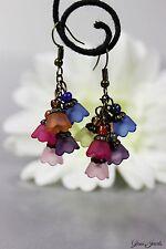 Glass Jewels Bronze Ohrringe Ohrhänger Vintage Perlen Blüten Blumen Sommer #I021