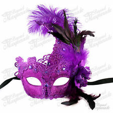 Womens Brocade Lace Ostrich Feather Venetian Masquerade Mask [Purple]