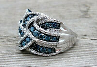 Classy Blue Sapphire  925 Silver Jewelry Wedding Party Ring Size 6-10 Happiness