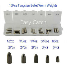 New 18Pcs Tungsten Bullet Worm Weights Slip Sinkers 1/8oz-1/2oz Weights Kits