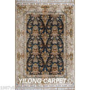 Yilong 5.6'x8.1' Silk Area Rugs Hand Knotted Modern Hand-made Floor Carpets 1825