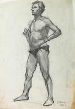 Vintage academic study male figure man's body socialist realism soviet art