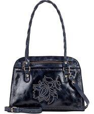 Patricia Nash Studded Distressed Calvi Satchel Genuine leather navy silver