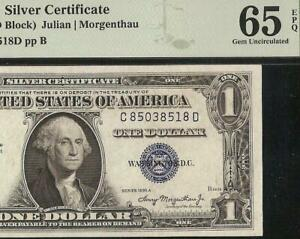 GEM 1935 A $1 DOLLAR BILL SILVER CERTIFICATE NOTE PAPER MONEY Fr 1608 PMG 65 EPQ