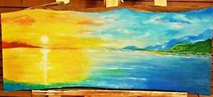 """Tropical Sunset"" Original Painting on Timber Slab- De Martino Art"