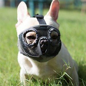 Short Snout Dog Muzzles Adjustable Breathable Mesh Bulldog Muzzle For Biting Che