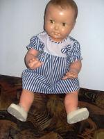 robe rayé bleu marine t 1 an bébé reborn poupon ancien TBE