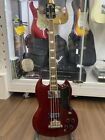 Used Burny / Fernandes REB-70 Cherry Red SG Bass Rose FB Great Playing Condition for sale