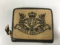 Juicy Couture Tan Brown Velour Zip Around Tri-fold Credit Card Wallet 4 1/2 x 4""