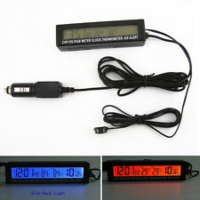 1x Car Digital Voltmeter Thermometer Clock Ice Alert Gauge Orange&Bule Backlight