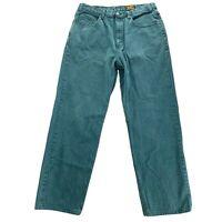 EDDIE BAUER Mens Size 36 x 31 Tall Green Denim 5 Pocket Jeans