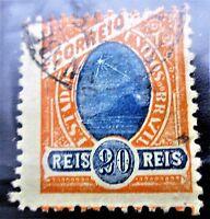 SCUSA-Brazil-Sugarloaf Mountain Stamp-1905-20 reis-Used VF CV-$20.00 Scott 167