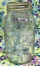 Longaberger Blue Ribbon Mason Jar Basket Weave Qt Size Canning Jar Collectible