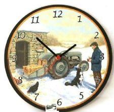 Snowy Little Grey Fergie Tractor Battery Wall Clock