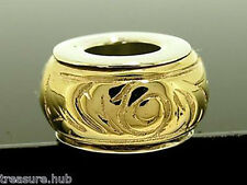 Genuine 9ct Yellow Gold & Sterling Silver Scroll Bead Charm Two-Tone