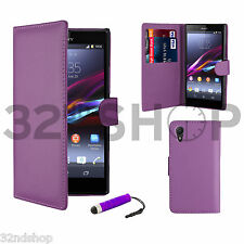 Sony Xperia Z2 mobile phone leather wallet case + free screen protector & stylus