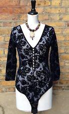 M&S Autograph Blue/Black Flock Body Starch Floral Lace Size UK 10 EU 38 NEW