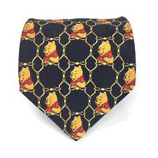 Winnie the Pooh Disney Store Dark Navy Blue Black 100% Silk Made In Italy Tie