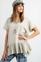 Easel Khaki Washed Short Sleeve Terry Knit Ruffled Hem Tunic Top