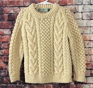 Kids IRIS FREE 100% Wool Fisherman Sweater Pullover Ivory Sz 6/7 - Ireland