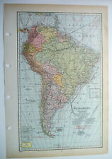 Map Of South America Argentina Bolivia Brazil C1939 Antique Large
