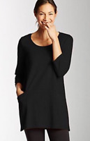 NEW PURE J. JILL 1X 3X 4X Curved Seam Tunic 3/4 Sl Knit Top Pima Cotton Black