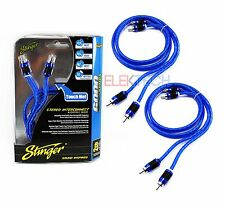 Two (2) Stinger SI623 RCA Interconnect Audio 3ft Cables for 4 Channel Install