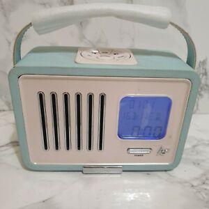 Retro Vintage Ks Swing Blue And White Radio Alarm Clock