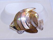GENUINE! Handmade Iridescent MOP & Solid Sterling Silver 925 Fish Brooch/Pendant