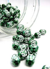 Aluminum Spacer Big Hole Bead Stainless Oval 6x9mm 30 pcs Green