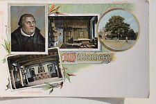 29068 Litho AK Wittenberg Martin Luther mit Lehrstuhl Lutherstube und Eiche 1900