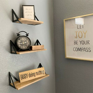 UNHO 3pcs Wall Floating Shelf Set DIY Mount Storage Book Display Rack Rustic Sty