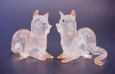 2 Tiny Glass CATS, Sitting, Stripy Ginger Painted Glass Animals, Ornaments Gift