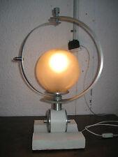 LAMPE DESIGN ANNÉES 70 MÉTAL BOIS ET VERRE/ARCEAU REGLABLE/VINTAGE GLASS LAMP