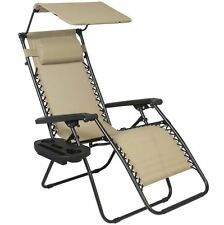 Deck Beach Chair, Folding Furniture Lounge Outdoor Pool Zero Gravity, Cup Holder
