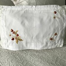AnTiQuE Edwardian ROYAL SOCIETY SILK Embroidery STRAWBERRIES Linen PILLOW SHAM