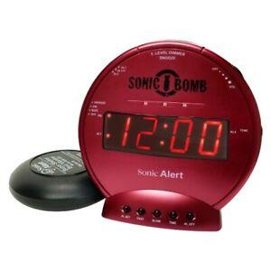 Sonic Alert Sonic Bomb SBB500ss Vibrating Alarm Clock   Red