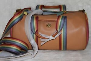 💚 Coach Leather Duffle with Pride Rainbow Quilting Travel Gym Bag Weekender NWT