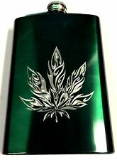 WEED Pot Leaf Marijuana Engraved Neon Green Steel 8oz Hip Flask Liquor FEN-0044