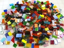 """300 Mosaic Tiles TINY RAINBOW COLOR MIX 1/4""""-3/8""""-1/2"""" Premium Stained Glass"""