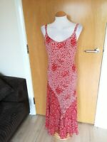 Ladies PER UNA Dress Size 12 Long Tall Red Floral Midi Party Evening Wedding
